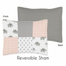 Blush Pink, Grey and White Standard Pillow Sham for Watercolor Elephant Safari Collection by Sweet Jojo Designs