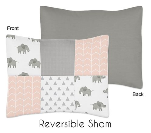 Blush Pink, Grey and White Standard Pillow Sham for Watercolor Elephant Safari Collection by Sweet Jojo Designs - Click to enlarge
