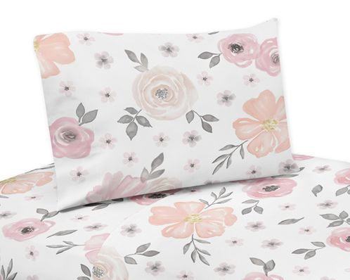 Blush Pink, Grey and White Twin Sheet Set for Watercolor Floral Collection by Sweet Jojo Designs - 3 piece set - Click to enlarge