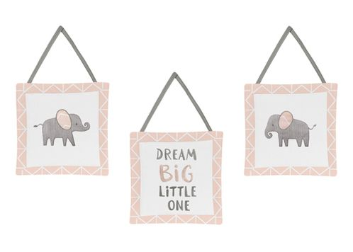 Blush Pink, Grey and White Wall Hanging Decor for Watercolor Elephant Safari Collection by Sweet Jojo Designs - Set of 3 - Click to enlarge