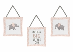 Blush Pink, Grey and White Wall Hanging Decor for Watercolor Elephant Safari Collection by Sweet Jojo Designs - Set of 3