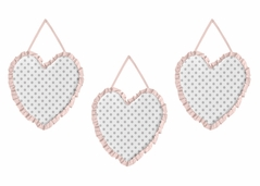 Blush Pink, Grey and White Wall Hanging Decor for Watercolor Floral Collection by Sweet Jojo Designs - Set of 3