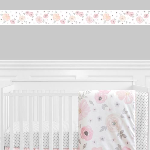 Blush Pink, Grey and White Wallpaper Wall Border for Watercolor Floral Collection by Sweet Jojo Designs - Click to enlarge