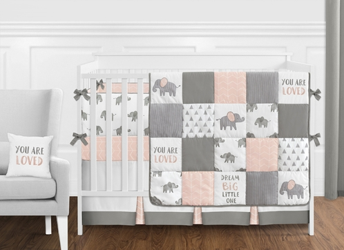 Blush Pink, Grey and White Watercolor Elephant Safari Baby Girl Crib Bedding Set with Bumper by Sweet Jojo Designs - 9 pieces - Click to enlarge