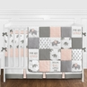 Blush Pink, Grey and White Watercolor Elephant Safari Baby Girl Crib Bedding Set with Bumper by Sweet Jojo Designs - 9 pieces
