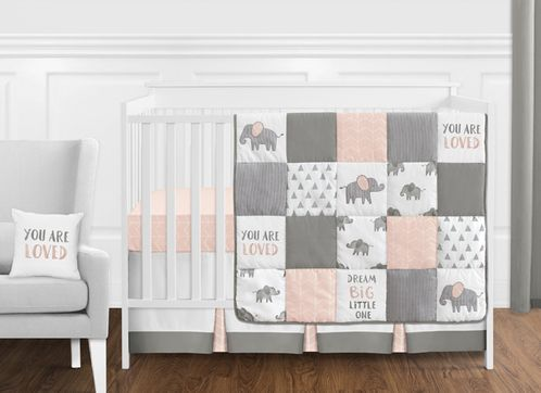 Blush Pink, Grey and White Watercolor Elephant Safari Baby Girl Crib Bedding Set without Bumper by Sweet Jojo Designs - 11 pieces - Click to enlarge