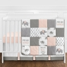 Blush Pink, Grey and White Watercolor Elephant Safari Baby Girl Crib Bedding Set without Bumper by Sweet Jojo Designs - 11 pieces