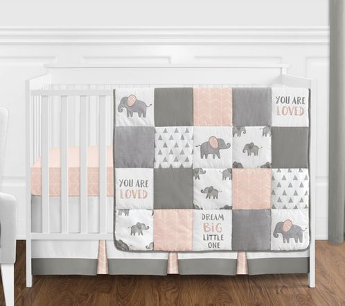 Blush Pink Grey And White Watercolor Elephant Safari Baby Crib Bedding Set Without Per By Sweet Jojo Designs 4 Pieces