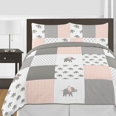 Blush Pink, Grey and White Watercolor Elephant Safari Girl Full / Queen Kid Childrens Bedding Comforter Set by Sweet Jojo Designs - 3 pieces