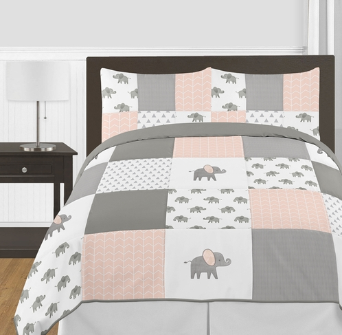 Blush Pink, Grey and White Watercolor Elephant Safari Girl Full / Queen Kid Childrens Bedding Comforter Set by Sweet Jojo Designs - 3 pieces - Click to enlarge