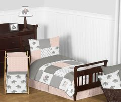 Blush Pink, Grey and White Watercolor Elephant Safari Girl Toddler Kid Childrens Bedding Set by Sweet Jojo Designs - 5 pieces Comforter, Sham and Sheets