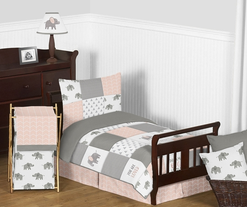 Blush Pink, Grey and White Watercolor Elephant Safari Girl Toddler Kid Childrens Bedding Set by Sweet Jojo Designs - 5 pieces Comforter, Sham and Sheets - Click to enlarge