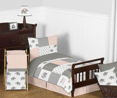 Blush Pink, Grey and White Watercolor Elephant Safari Girl Toddler Kid  Childrens Bedding Set by Sweet Jojo Designs 5 pieces Comforter, Sham and  Sheets