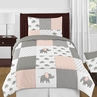 Blush Pink, Grey and White Watercolor Elephant Safari Girl Twin Kid Childrens Bedding Comforter Set by Sweet Jojo Designs - 4 pieces