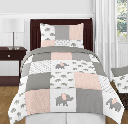 Blush Pink, Grey and White Watercolor Elephant Safari Girl Twin Kid Childrens Bedding Comforter Set by Sweet Jojo Designs - 4 pieces - Click to enlarge