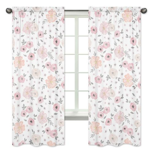 Blush Pink, Grey and White Window Treatment Panels Curtains for Watercolor Floral Collection by Sweet Jojo Designs - Set of 2 - Click to enlarge