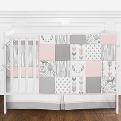 Blush Pink, Grey and White Woodsy Woodland Deer Girls Baby Bedding 9 Piece Crib Set with Bumper