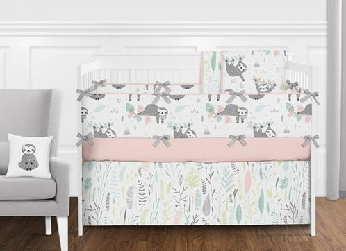 Blush Pink, Grey, Aqua and Green Woodland Jungle Sloth Baby Girl Nursery Crib Bedding Set with Bumper by Sweet Jojo Designs - 9 pieces - Tropical Rainforest Animal - Click to enlarge