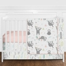 Blush Pink, Grey, Aqua and Green Woodland Jungle Sloth Baby Girl Nursery Crib Bedding Set without Bumper by Sweet Jojo Designs - 4 pieces - Tropical Rainforest Animal