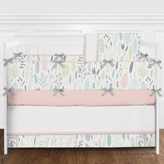 Blush Pink, Grey, Mint Green and White Woodland Boho Botanical Leaf Baby Girl Nursery Crib Bedding Set with Bumper by Sweet Jojo Designs - 9 pieces