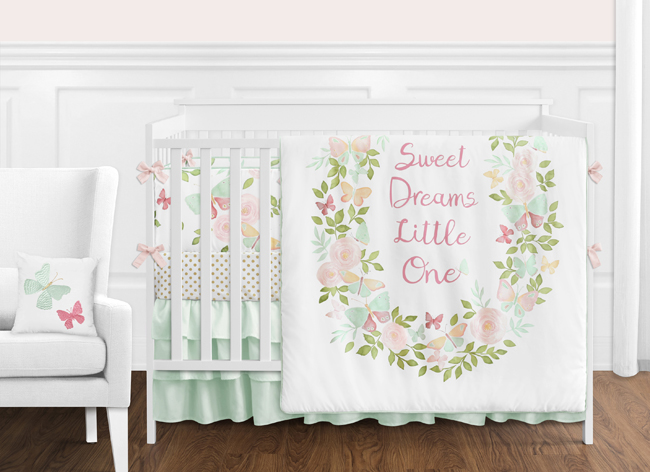 Blush Pink Mint And White Shabby Chic Butterfly Floral Baby Girl Crib Bedding Set With Bumper By Sweet Jojo Designs 9 Pieces Watercolor Rose Only 189 99