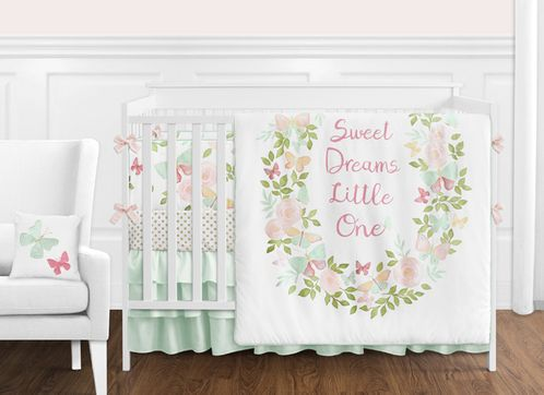 Blush Pink, Mint and White Shabby Chic Butterfly Floral Baby Girl Crib Bedding Set with Bumper by Sweet Jojo Designs - 9 pieces - Watercolor Rose - Click to enlarge