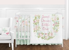 Blush Pink, Mint and White Shabby Chic Butterfly Floral Baby Girl Crib Bedding Set with Bumper by Sweet Jojo Designs - 9 pieces - Watercolor Rose