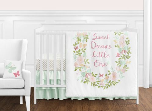 Blush Pink, Mint and White Shabby Chic Butterfly Floral Baby Girl Crib Bedding Set without Bumper by Sweet Jojo Designs - 11 pieces - Watercolor Rose - Click to enlarge