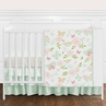 Blush Pink, Mint and White Shabby Chic Butterfly Floral Baby Girl Crib Bedding Set without Bumper by Sweet Jojo Designs - 11 pieces - Watercolor Rose