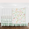 Blush Pink, Mint and White Shabby Chic Butterfly Floral Baby Girl Crib Bedding Set without Bumper by Sweet Jojo Designs - 4 pieces - Watercolor Rose