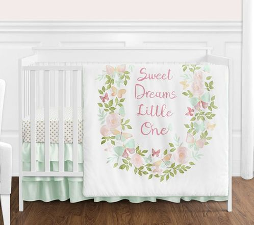Blush Pink, Mint and White Shabby Chic Butterfly Floral Baby Girl Crib Bedding Set without Bumper by Sweet Jojo Designs - 4 pieces - Watercolor Rose - Click to enlarge