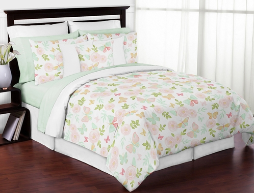 Blush Pink, Mint and White Shabby Chic Butterfly Floral Girl Full / Queen Kid Teen Bedding Comforter Set by Sweet Jojo Designs - 3 pieces - Watercolor Rose - Click to enlarge
