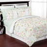 Blush Pink, Mint and White Shabby Chic Butterfly Floral Girl Full / Queen Kid Teen Bedding Comforter Set by Sweet Jojo Designs - 3 pieces - Watercolor Rose
