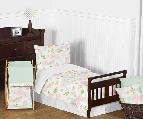 Blush Pink, Mint and White Shabby Chic Butterfly Floral Girl Toddler Kid Childrens Bedding Set by Sweet Jojo Designs - 5 pieces Comforter, Sham and Sheets - Watercolor Rose - Click to enlarge