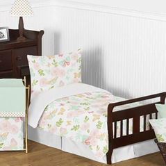 Blush Pink, Mint and White Shabby Chic Butterfly Floral Girl Toddler Kid Childrens Bedding Set by Sweet Jojo Designs - 5 pieces Comforter, Sham and Sheets - Watercolor Rose