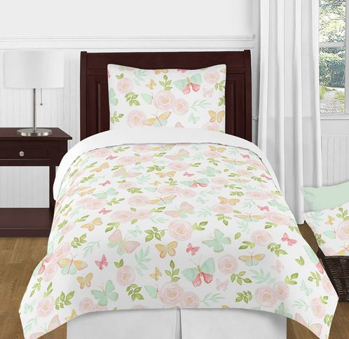 Blush Pink, Mint and White Shabby Chic Butterfly Floral Girl Twin Kid Childrens Bedding Comforter Set by Sweet Jojo Designs - 4 pieces - Watercolor Rose - Click to enlarge