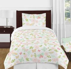 Blush Pink, Mint and White Shabby Chic Butterfly Floral Girl Twin Kid Childrens Bedding Comforter Set by Sweet Jojo Designs - 4 pieces - Watercolor Rose