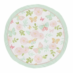 Blush Pink, Mint and White Shabby Chic Playmat Tummy Time Baby and Infant Play Mat for Butterfly Floral Collection by Sweet Jojo Designs - Rose Flower