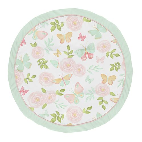 Blush Pink, Mint and White Shabby Chic Playmat Tummy Time Baby and Infant Play Mat for Butterfly Floral Collection by Sweet Jojo Designs - Rose Flower - Click to enlarge