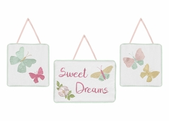Blush Pink, Mint and White Sweet Dreams Rose Wall Hanging Decor for Butterfly Floral Collection by Sweet Jojo Designs - Set of 3