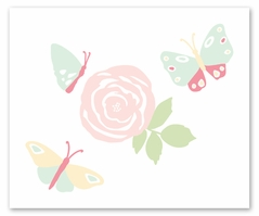 Blush Pink, Mint and White Watercolor Rose Accent Floor Rug or Bath Mat for Butterfly Floral Collection by Sweet Jojo Designs