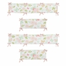 Blush Pink, Mint and White Watercolor Rose Baby Crib Bumper Pad for Butterfly Floral Collection by Sweet Jojo Designs