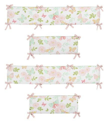 Blush Pink, Mint and White Watercolor Rose Baby Crib Bumper Pad for Butterfly Floral Collection by Sweet Jojo Designs - Click to enlarge