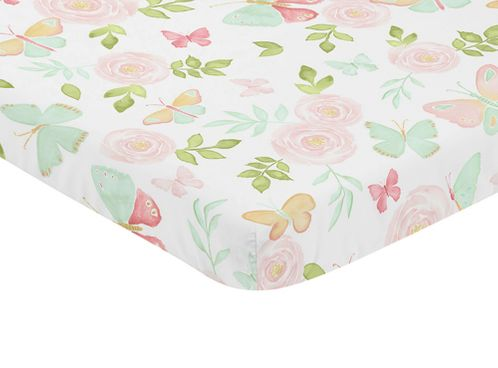 Blush Pink, Mint and White Watercolor Rose Baby Fitted Mini Portable Crib Sheet for Butterfly Floral Collection by Sweet Jojo Designs - Click to enlarge