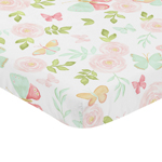 Blush Pink, Mint and White Watercolor Rose Baby Fitted Mini Portable Crib Sheet for Butterfly Floral Collection by Sweet Jojo Designs