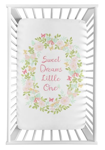 Blush Pink, Mint and White Watercolor Rose Baby Fitted Mini Portable Crib Sheet for Butterfly Floral Collection by Sweet Jojo Designs - Sweet Dreams Little One - Click to enlarge