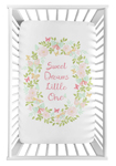 Blush Pink, Mint and White Watercolor Rose Baby Fitted Mini Portable Crib Sheet for Butterfly Floral Collection by Sweet Jojo Designs - Sweet Dreams Little One