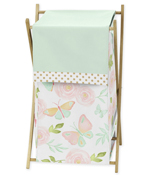 Blush Pink, Mint and White Watercolor Rose Baby Kid Clothes Laundry Hamper for Butterfly Floral Collection by Sweet Jojo Designs