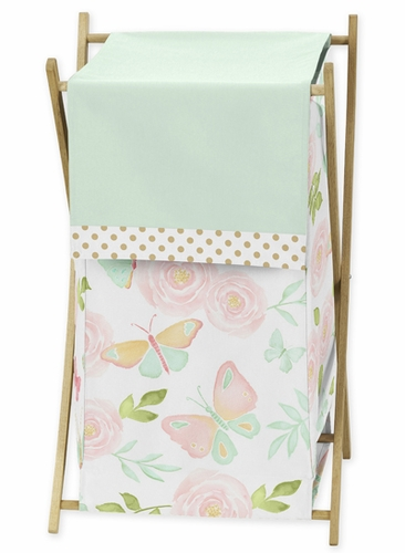 Blush Pink, Mint and White Watercolor Rose Baby Kid Clothes Laundry Hamper for Butterfly Floral Collection by Sweet Jojo Designs - Click to enlarge