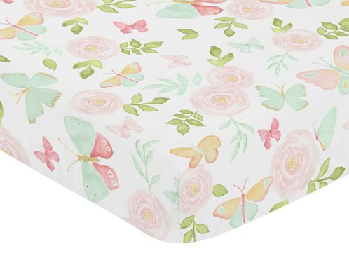 Blush Pink, Mint and White Watercolor Rose Baby or Toddler Fitted Crib Sheet for Butterfly Floral Collection by Sweet Jojo Designs - Click to enlarge